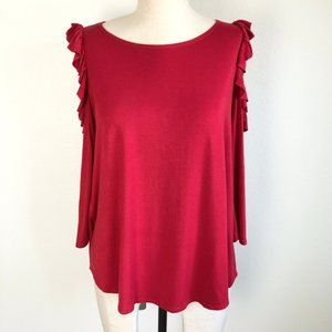 Status Chenault Cold Shoulder Ruffle 3/4 Sleeve S